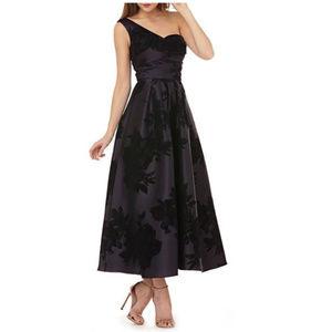 NWT Kay Unger Mikado One-Shoulder Dress